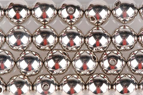 perle métal argent 14mm