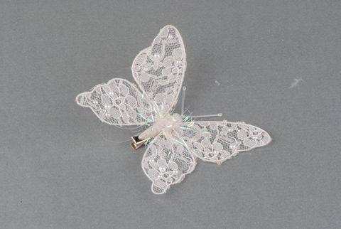 papillon blanc dentelle / nacre